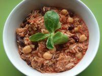 Chili z ryżem i pieczenią z szynki
