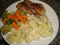 Cytrynowy kurczak z gotowanymi warzywami