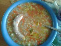 Krupnik z warzywami oraz białą kiełbasą