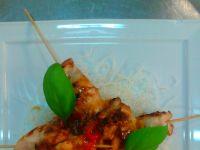 Kurczak teriyaki na smażonym makaronie ryżowym