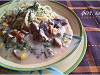 Makaron z potrawką schabowo - grzybową