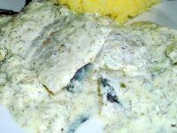 Miruna w sosie śmietankowo-koperkowym
