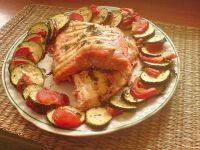 pieczony łosoś z warzywami