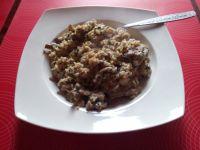 Polędwiczki na ryżu z pieczarkami