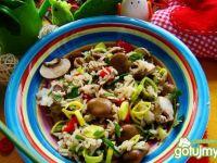 Potrawka z ryżu miruny i pieczarek
