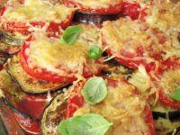 Prosta zapiekanka z pomidorów i bakłażana