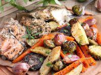 Ryby z warzywami z piekarnika