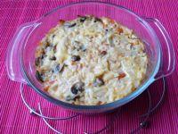 Ryż zapiekany z pieczarkami i warzywami