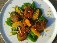 Sałatka ze szpinakiem pomarańczą i wątróbką