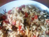 Schabik z ryżem i pieczarkami