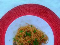 Spaghetti z bułką tartą i anchois