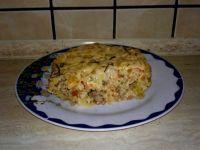 Zapiekanka pomidorowo - porowa z mięsem