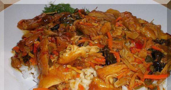 Chińskie danie z ryżem i kurczakiem - Ryż , warzywa i kurczak....
