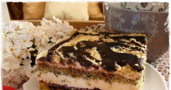 Ciasto makowo-kokosowe z kremem - Pyszne wyraźne w smaku ciasto z kremem i bakaliami