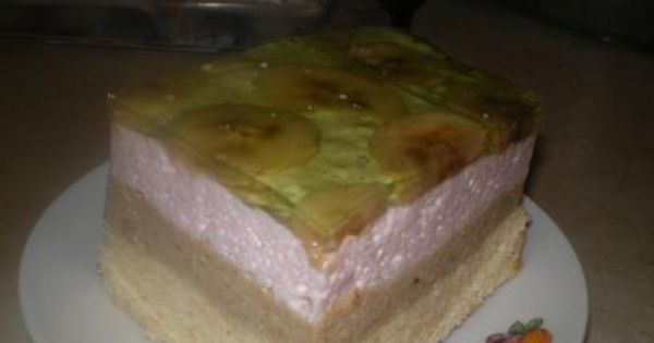 Ciasto z bananami i galaretką - Lekkie, mocno bananowe ciasto z galaretką