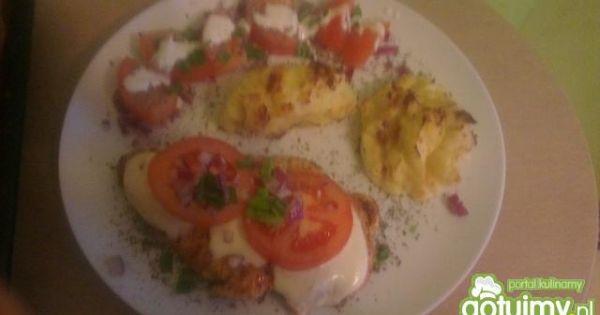 Kurczak pod chmurką z puree  - Filet z kurczaka z mozaarelą i zapiekanym puree z niespodzianką;)
