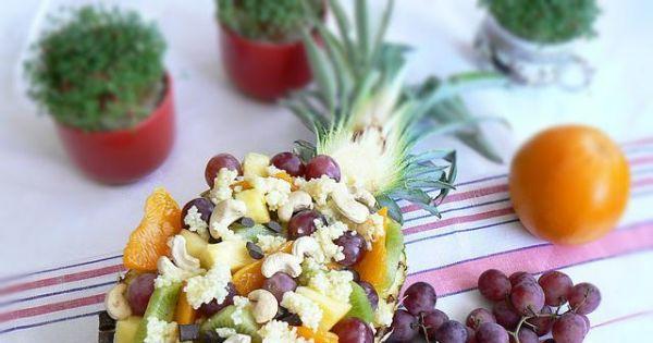 Kuskus z musem ananasowym z owocami - Kuskus z musem ananasowym z owocami w sałatce