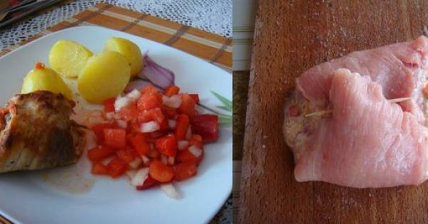 Mięsne zawijanki z pomidorami i serem - GOTOWE DANIE oraz PRZED UPIECZENIEM