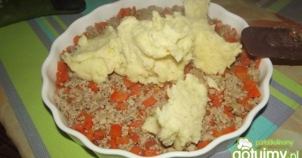 Mięso z warzywami zapiekane pod puree - Wykładamy na wierzch puree ziemniaczane .