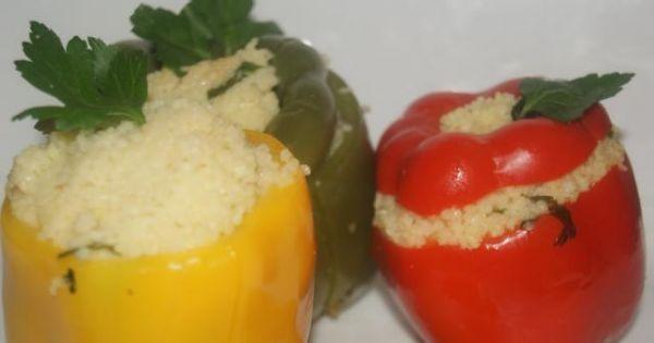 Papryki faszerowane kuskusem - Papryki faszerowane kuskusem gotowane na parze
