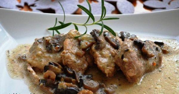 Polędwiczki z pieczarkami - Duszone polędwiczki z pieczarkami i cebulą