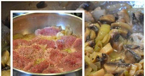 Polędwiczki z pieczarkami - Pieczarki  czyszczę  , kroję w grubsze plastry, przepłukuję, następnie obgotowuję je  i odcedzam .
