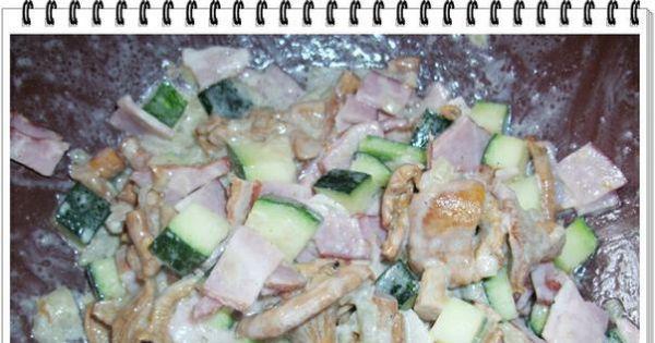 Rolada Eli z udźca indyczego - Do kurek dodać cukinię szynkę sól pieprz do smaku i wymieszać.
