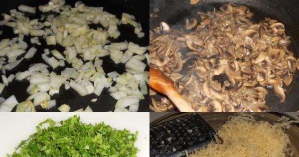 Rolada schabowa z pieczarkami - Usmażona cebula i pieczarki, posiekana natka, starty ser.