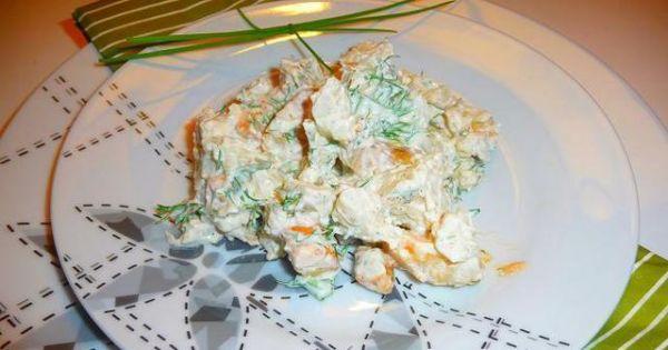 Sałatka z kalafiorem,młodymi ziemniakami - Sałatka z młodych ziemniaków i kalafiora