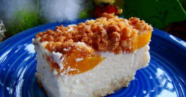 Sernik z brzoskwinią  - Pyszny puszystry serniczek z brzoskwiniami i kruchym ciastem na wierzchu