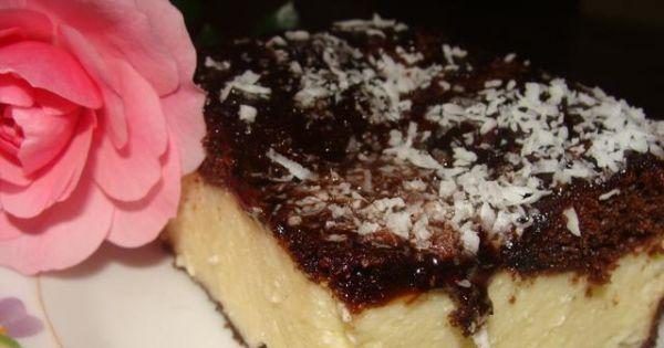 Sernik z czekoladowym spodem - Tak wygląda mój serniczek po upieczeniu najlepszy jeszcze ciepły pycha!