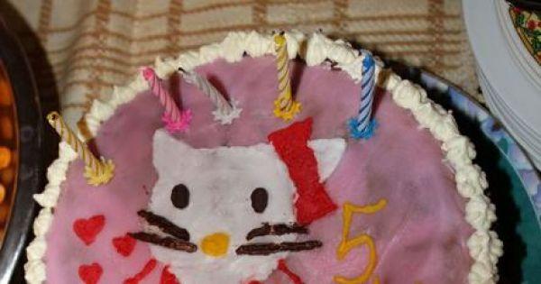 Tort hello kitty ;p  - gotowy kotek no nie jestem idealnym cukiernikiem ale małej sie podobał