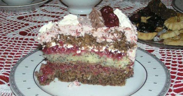 Tort z kakao, makiem i wisniami - Tort z kakao, makiem i wisniami