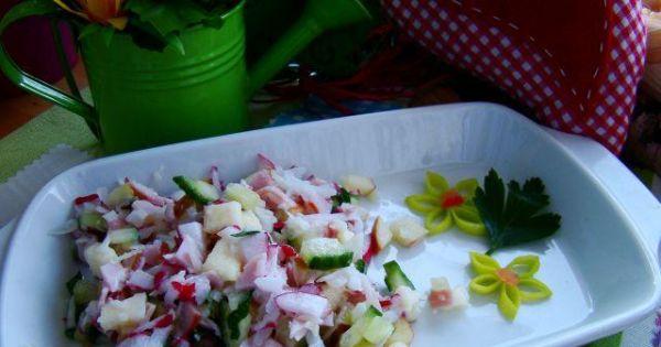 Wiosenna sałatka z rzodkiewką  - Sałatka wiosenna z rzodkiewką i szynką z jogurtem i majonezem