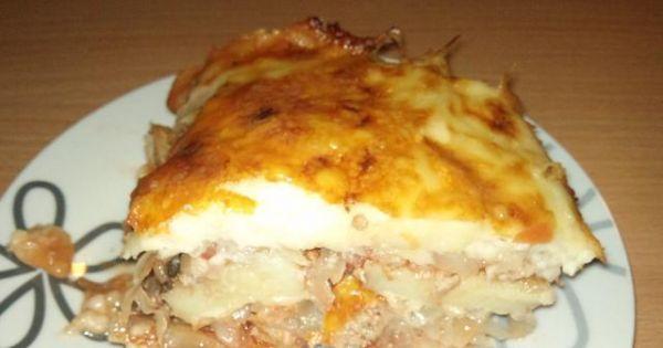 Zapiekanka z mięsem mielonym i kapustą - Bardzo ciekawa w smaku zapiekanka z ziemniakami mięsem i kapustą
