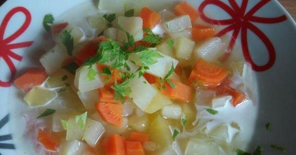 Zupa z białą rzodkwią - Natkę opłukać osuszyć i posiekać Gorącą zupę rozlać do talerzy Można wlać łyżeczkę śmietanki Posypać natką i pieprzem białym
