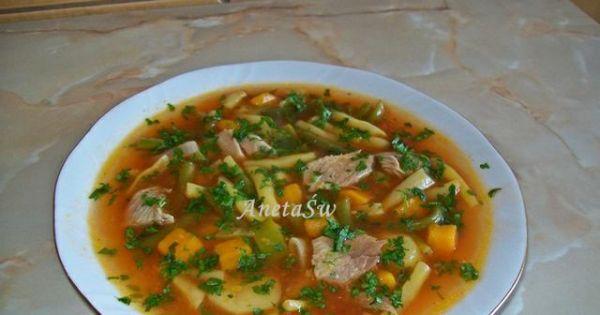 Zupa z fasoli szparagowej - Zupa z fasoli szparagowej z przecierem pomidorowym.