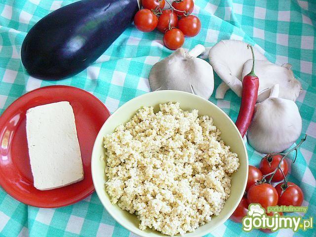 Bakłażan z jaglaną z tofu i  teriyaki