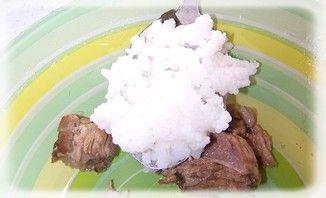 Botwinka z ryżem i wkładką mięsną i ryżem