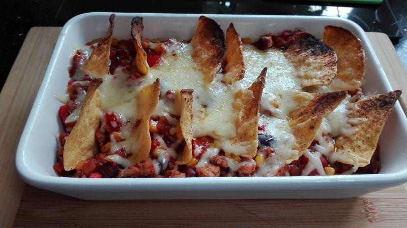Chrupiące chili con carne z nachosami
