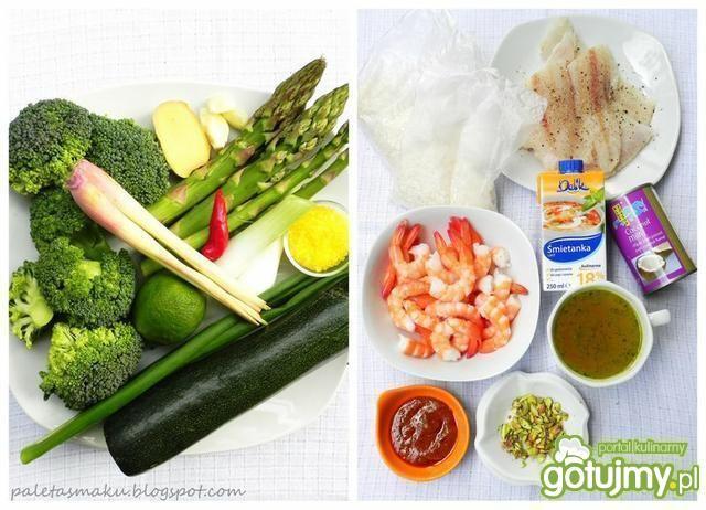 Curry krewetkowe z zielonymi warzywami