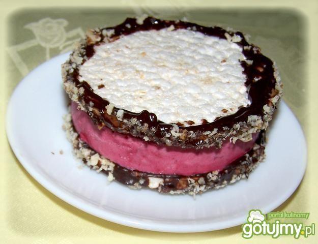 Domowe lody malinowe na waflu ryżowym