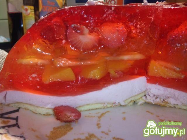 galaretkowe cudo z owocami i biszkoptami