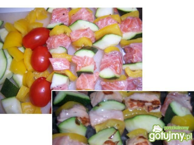 Grillowane szaszłyki z łososiem