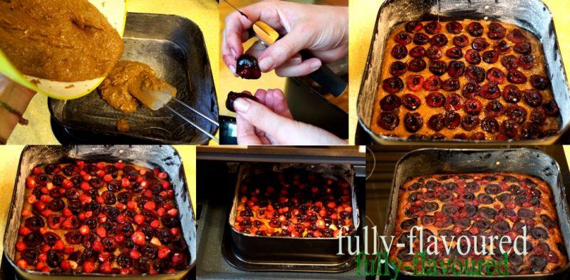 Imbirowo-migdałowe ciasto z czereśniami i poziomka