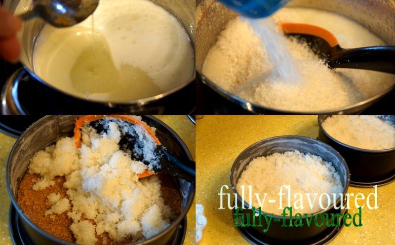 Kokosowy sernik z truskawkami i rabarbarem