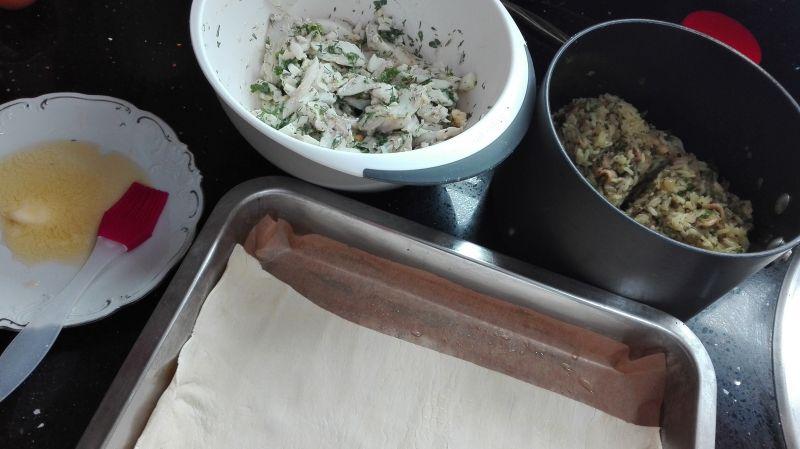 Kulebiak z dorsza z pieczarkami