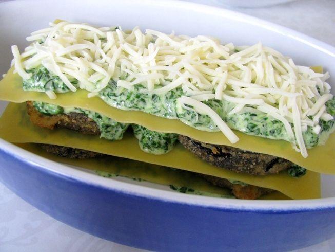 Lasagne szpinakowa z panierowanym bakłażanem