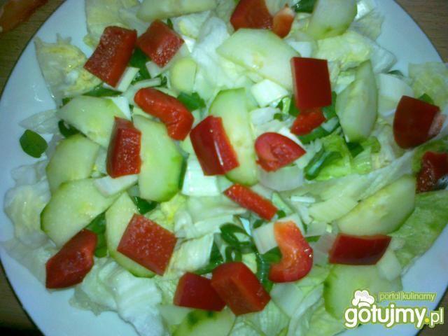 Lodowa z serem wasabi jajkiem warzywami