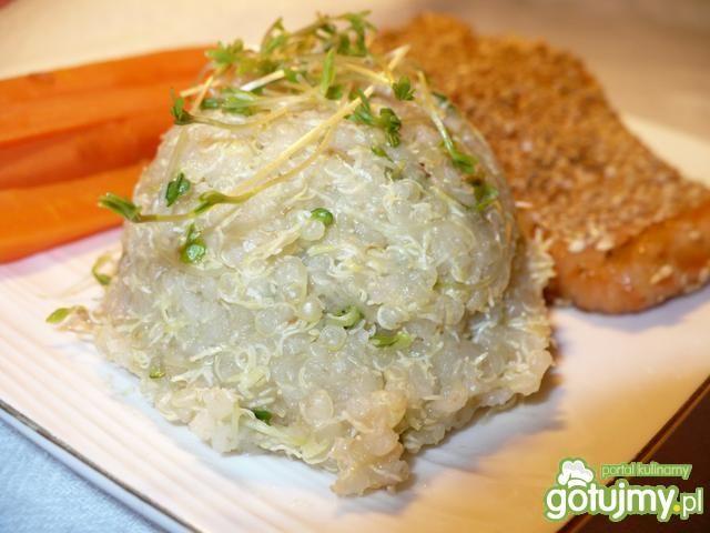 Łosoś teriyaki i quinoa z kiełkami